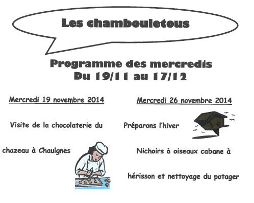 Les Chambouletous programme des mercredis
