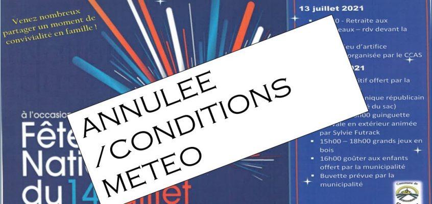 ANNULATION DES FESTIVITES DU 14 JUILLET