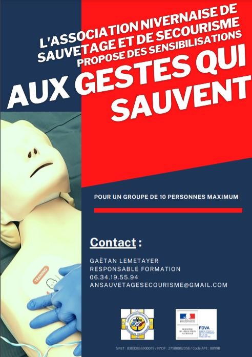 L' Association Nivernaise de Sauvetage et Secourisme organise des formations